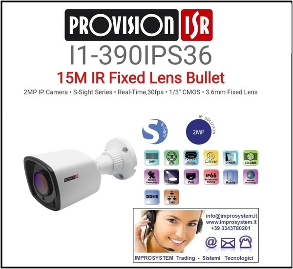 PROVISION ISR  I1-390IPS36 TELECAMERA IP S-SINGHT 2MP