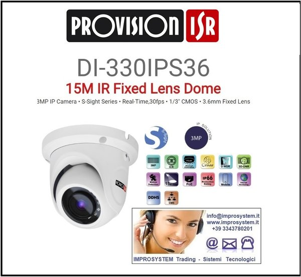 PROVISION ISR  DI-330IPS36 TELECAMERA IP S-SINGHT 3MPX