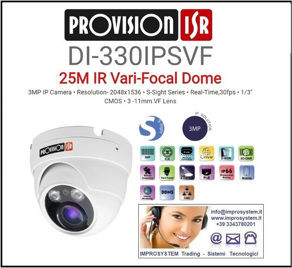 PROVISION ISR  DI-330IPSVF TELECAMERA IP S-SINGHT 3MPX