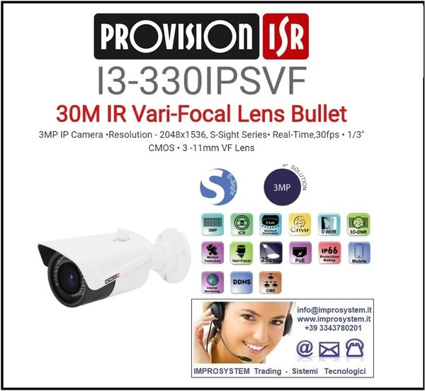 PROVISION ISR  I3-330IPSVF TELECAMERA IP S-SINGHT 3MPX